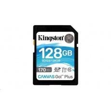 Kingston 128GB SecureDigital Canvas Go! Plus (SDXC) Card, 170R 90W Class 10 UHS-I U3 V30